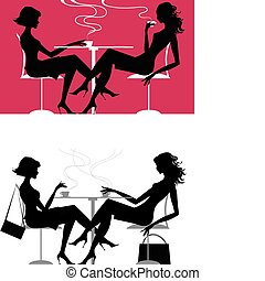 Girls at cafe - Vector illustration of girls chatting at...