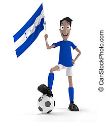 Honduran soccer player - Smiling cartoon style soccer player...