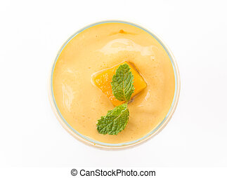 mango smoothie - fresh mango smoothie on white background