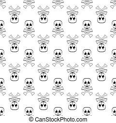 Skull Cross Bones Seamless Pattern Skull Isolated on White