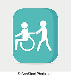 Disabled icon, a man pushing wheelchair of man patient...