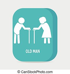 Elderly symbol old people icon vector illustration - Elderly...