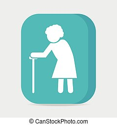 Elderly woman symbol old people button vector illustration -...