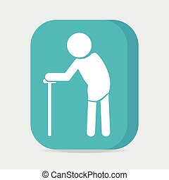 Elderly symbol old people icon, button vector illustration