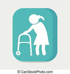 Elderly woman and walker symbol, button vector illustration