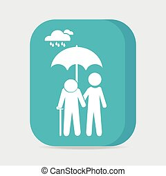 Man holding umbrella for protection elderly from the rain