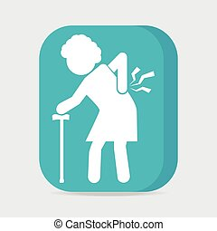 Elderly woman with stick and injury of the back pain icon