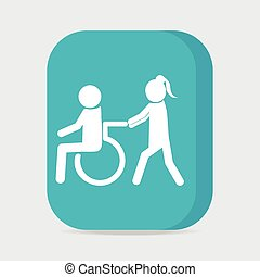 Disabled icon sign, a woman pushing wheelchair of man...