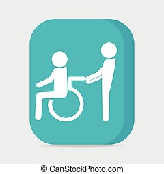 Disabled icon sign, a man pushing wheelchair of man patient...