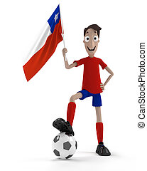 Chilean soccer player - Smiling cartoon style soccer player...