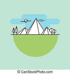 Line icon mountains in color vector - Line icon mountains in...