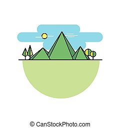 Line icon mountains in color vector