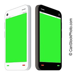 side view of smartphone with green screen