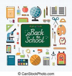 Welcome back to school flat concept background - School...