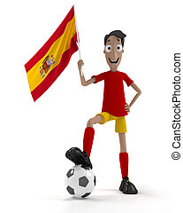 Spanish soccer player - Smiling cartoon style soccer player...