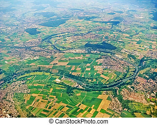 River Neckar and Villages near Ludwigsburg - aerial view -...