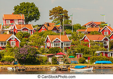 Typical swedish wooden houses in Karlskrona - Typical red...