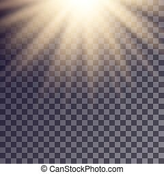 Sun rays effect. Simple golden beams blurred on transparent...