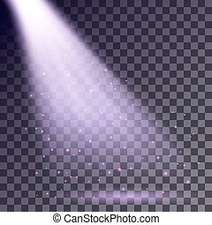 Purple rays from spotlight with shining particles on...