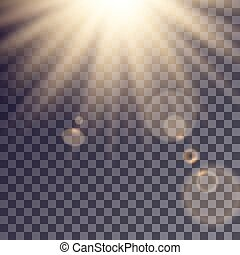 Sun rays effect with lens flares. Simple golden beams...