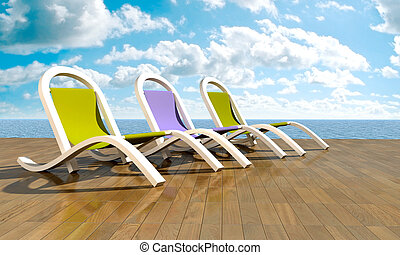 Deckchairs in front of sea