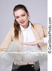 Woman making magic effect - flash lightning The concept of...
