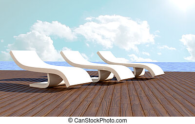Chaise longue Resort - chaise longue in front of sea in...