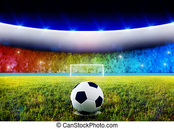 Soccer penalty kick - Soccer ball on penalty disk in the...