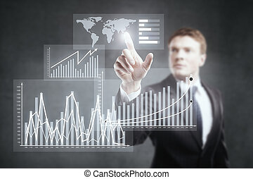 Businessman pointing at business chart - Businessman...