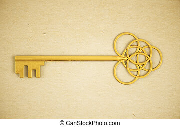 Ornate golden key on light background. 3D Rendering