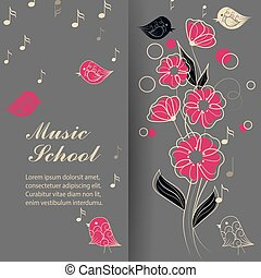 Vector illustration of singing birds and flower