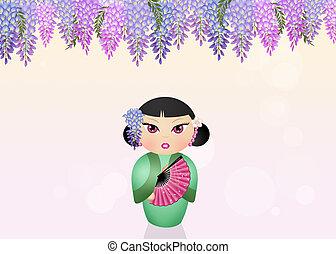 kokeshi, boneca, e, Wisteria, flores