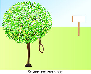 Suicide - Rope on the branch of tree illustrated depression...