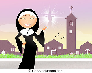 funny nun - illustration of funny nun