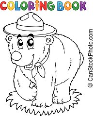Coloring book happy scout bear - eps10 vector illustration