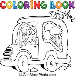Coloring book ice cream man in car