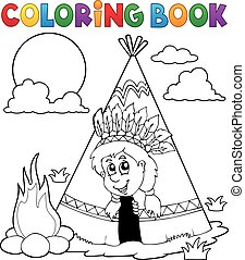 Coloring book Indian theme eps10 vector illustration