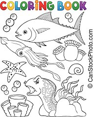 Coloring book marine life