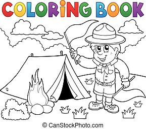 Coloring book scout boy with flags