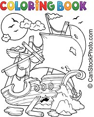 Coloring book shipwreck with rocks - eps10 vector...