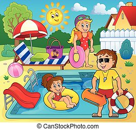 Children and life guard by pool