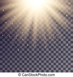 Golden rays from top with shiny particles on transparent...