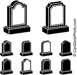 3d tombstone black symbol - illustration for the web
