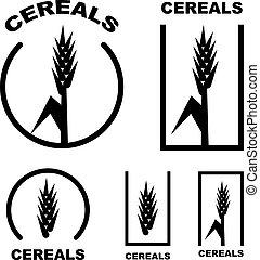 cereal ear black symbol - illustration for the web
