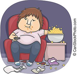Man Food - Illustration of an Overweight Man Eating Popcorn