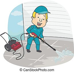 Man Cleaning Pressure Washer - Illustration of a Man...