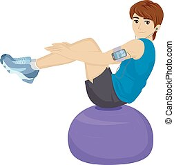 Teen Boy Balance Ball Work Out - Illustration of a Teenage...