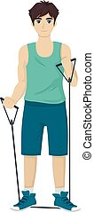 Teen Boy Resistance Band Work Out - Illustration of a...