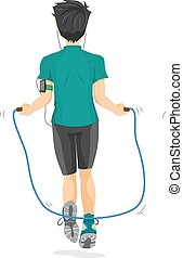 Teen Boy Work Out Jumping Rope - Illustration of a Teenage...