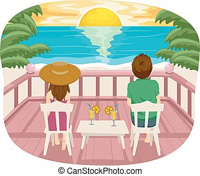 Teen Couple Terrace Beach View - Illustration of a Teenage...